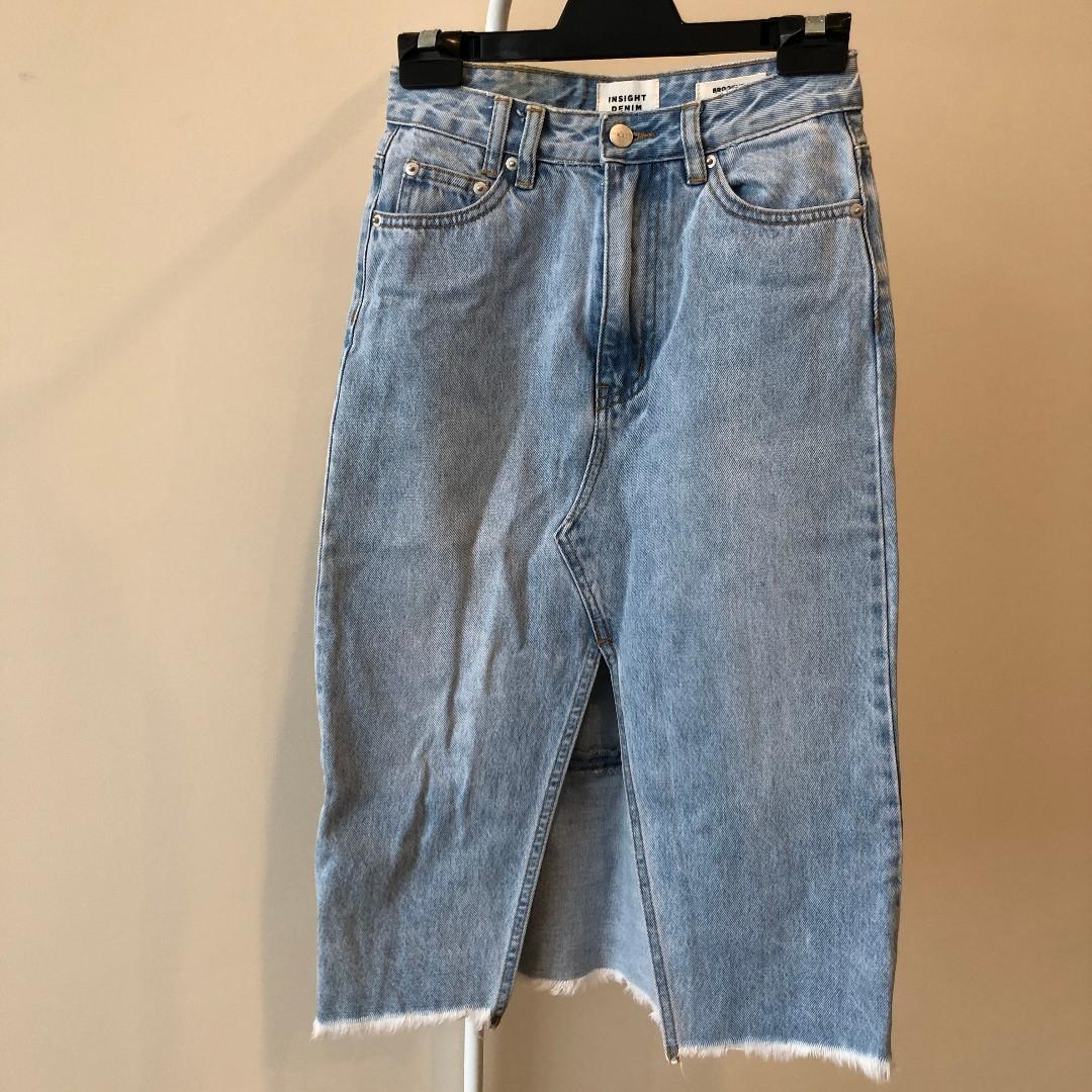 Insight Mid-length Denim Skirt with Front Split Detail (Aus Size 6)