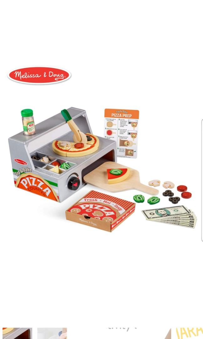 Melissa Doug Top And Bake Wooden Wood Pizza Counter Play