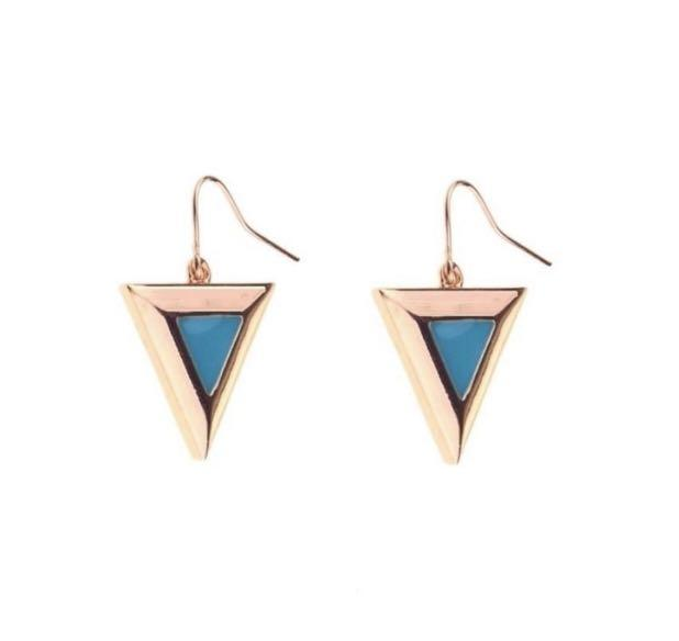 Triangle Drop Earrings In Rose Gold/Turquoise Rose Gold/Cream