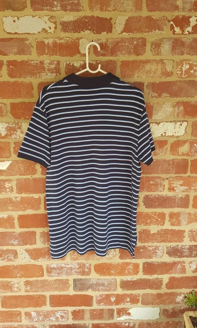 Ralph Lauren Polo Blue & White Striped Button Up Top XL