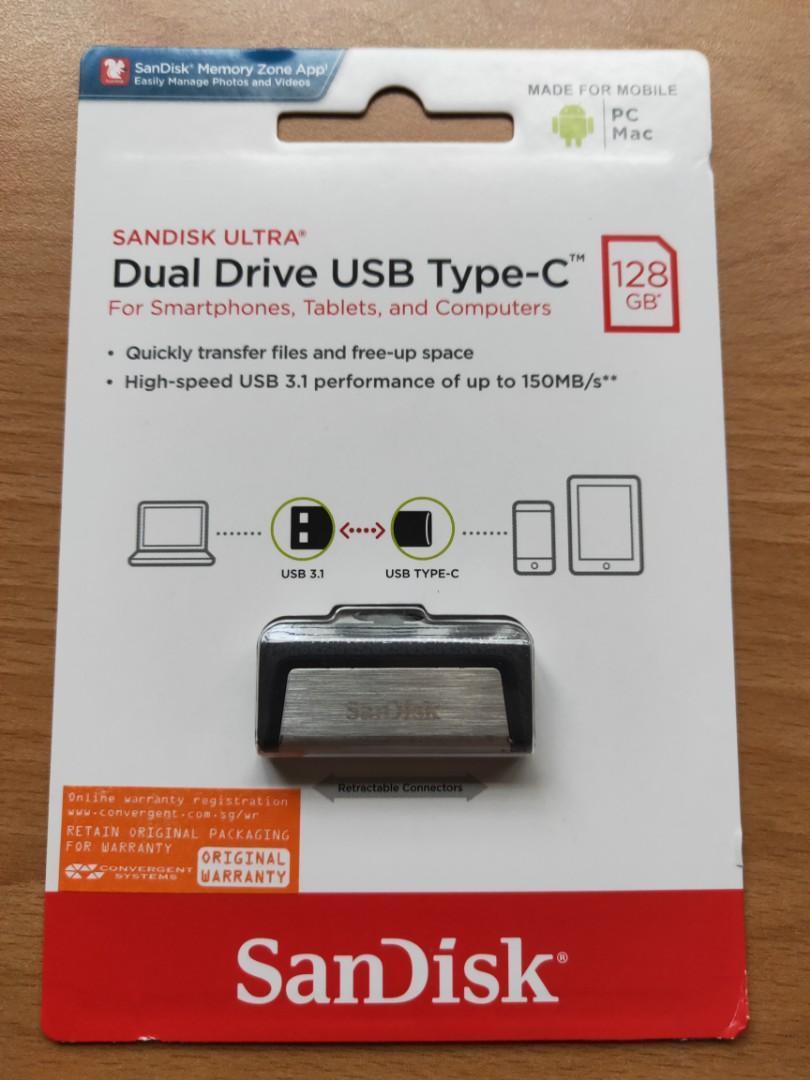SanDisk Ultra 128GB Dual USB Type C Flash Drive