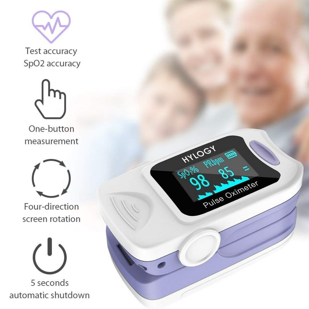 (SEALED SET) HYLOGY Pulse Oximeter MD-H10 Fingertip Oximeter Blood Oxygen  Saturation Monitor with Fast Readings Fit for Family Health Care(Blue)