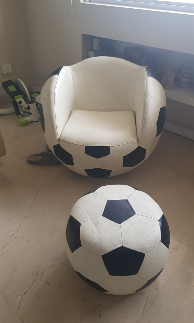 Tremendous Soccer Ball Swivel Chair With Foot Stool Pdpeps Interior Chair Design Pdpepsorg