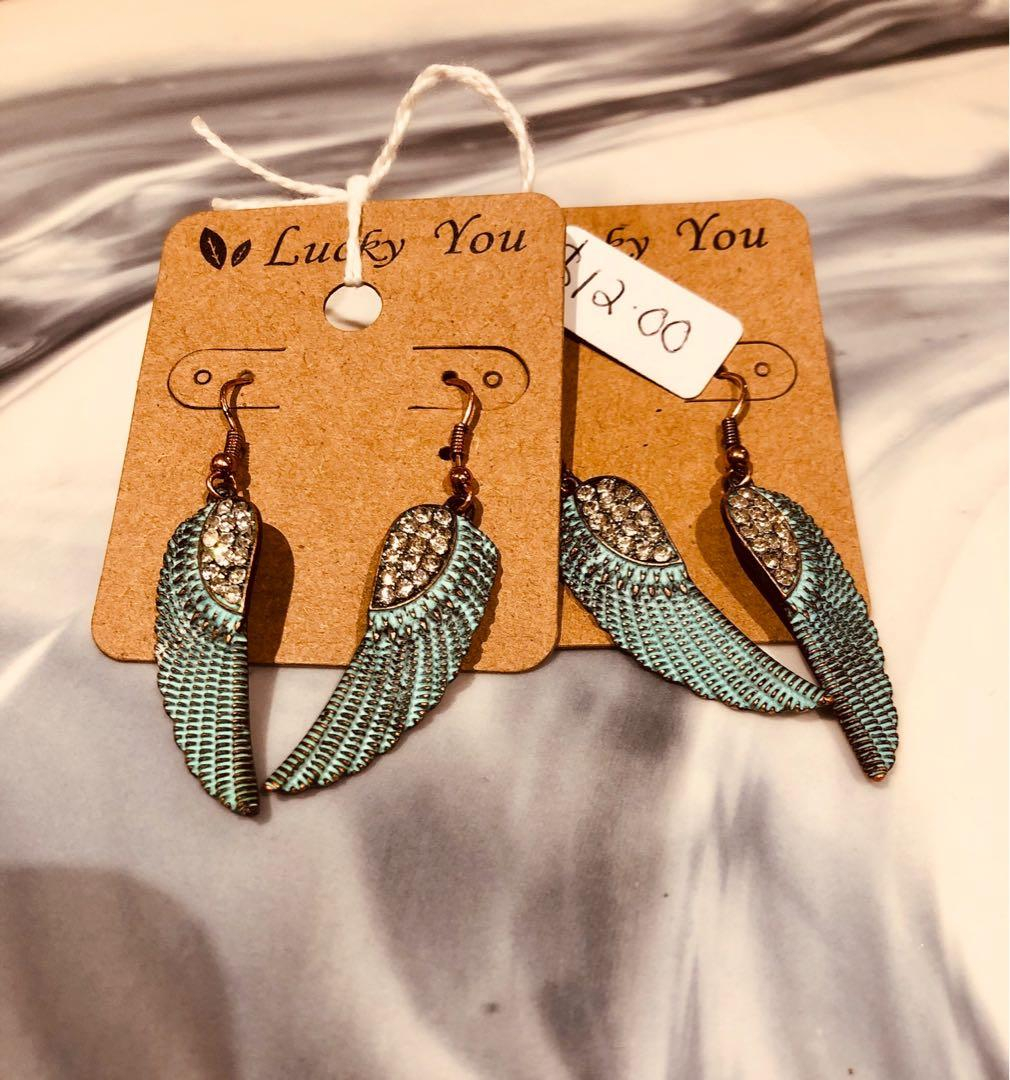 Turquoise & Crystal Angel Wings Earrings( Free With Purchases $20 or More)
