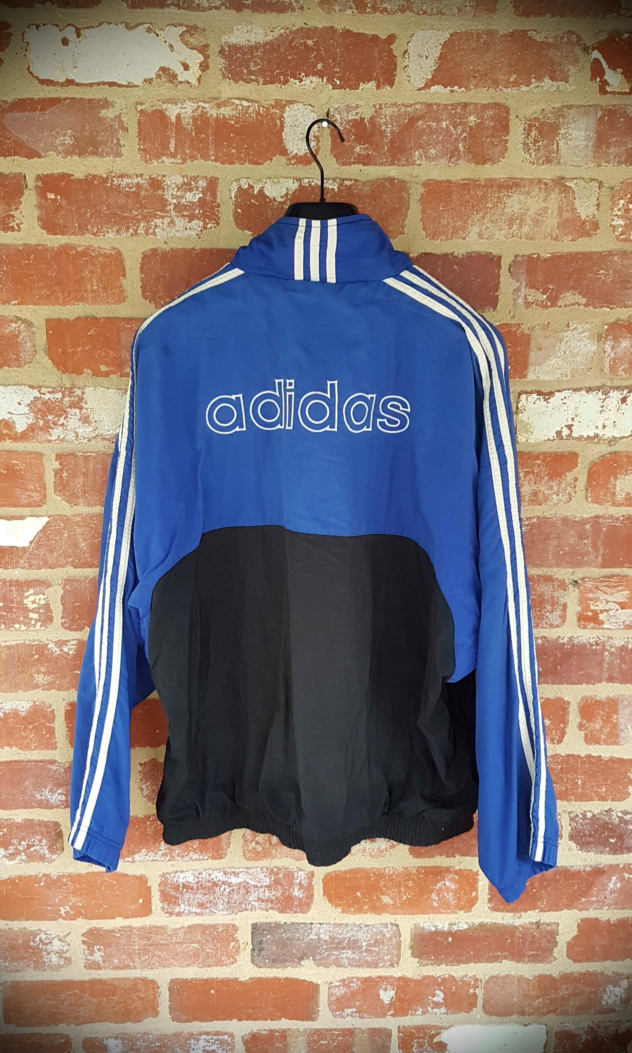 Vintage 90s Adidas Windbreaker Blue & White XXL Oversized
