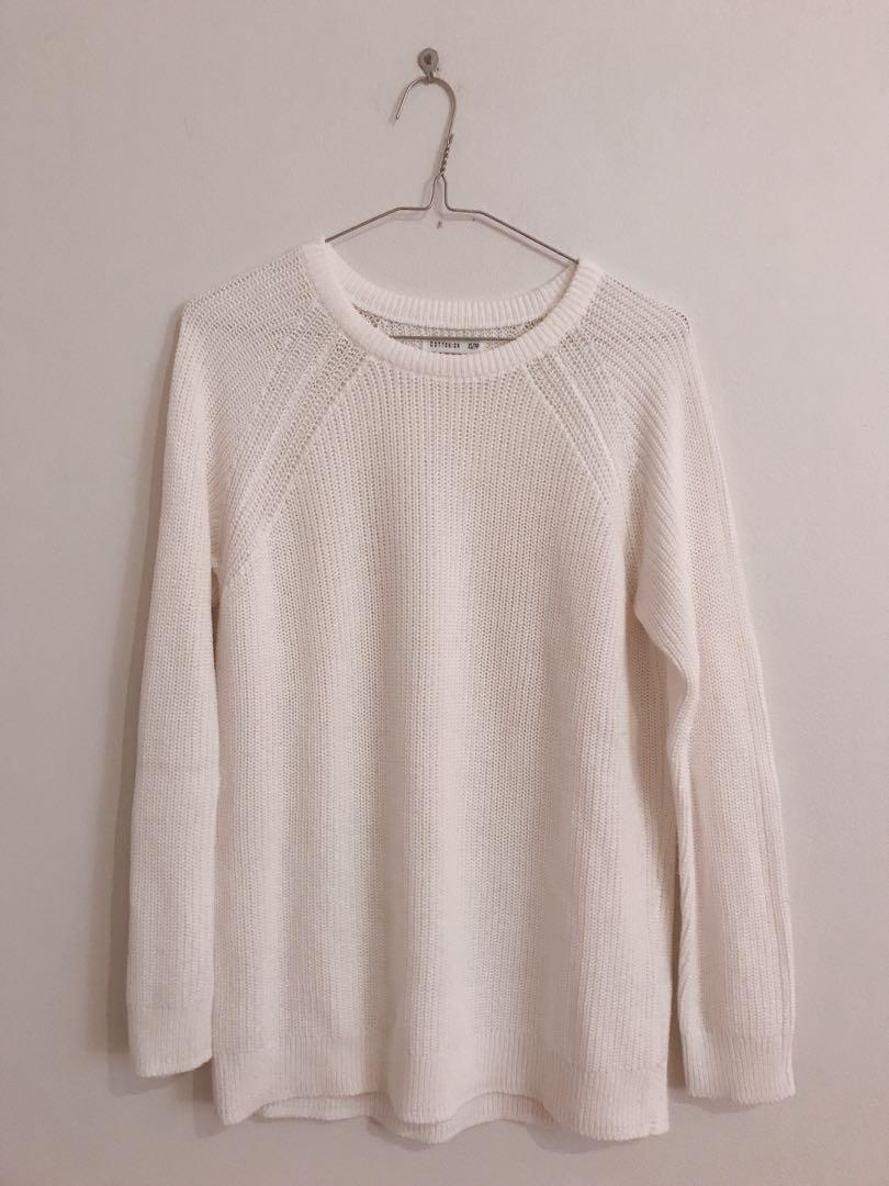 white knit top sweater jumper