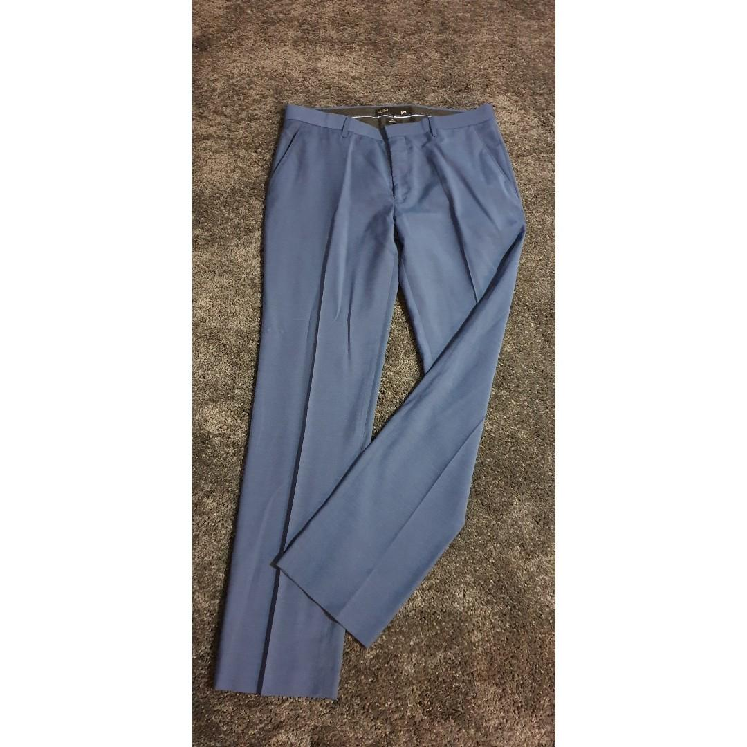 YD Slim Fit Light Dark Blue Mens Trousers, Size 34.