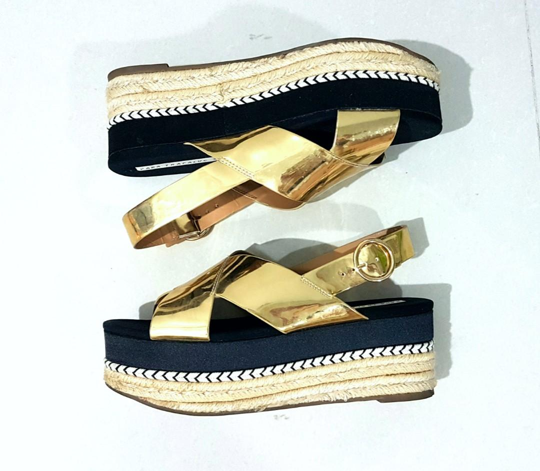 Zara Trafaluc gold wedge sandals