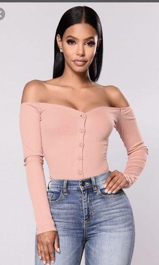 Fashion nova off shoulder pink top