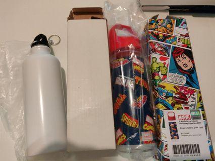 Marvel水樽+普通水樽各一個