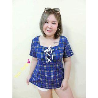 (SALES) Plus Size Baby Doll Tartan Royal Blue Criss Cross Sweetheart Top