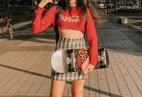 Red Coca Cola Crop top & Checkered Skirt