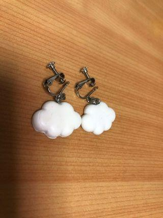 夾式耳環-白雲