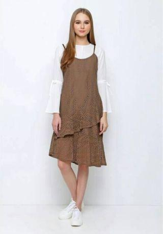 Chocochips coffee overall outer maxi dress korean style korea