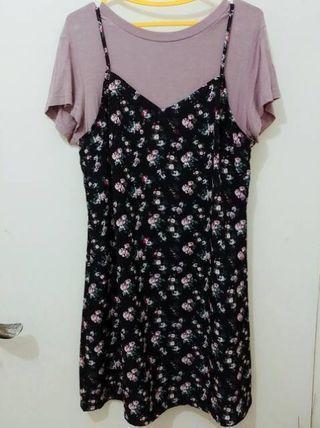 H&M set dress overall baju hnm