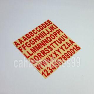 Stiker Alphabet Abjad Huruf Font ARIAL Merah Font 1cm X 1.6cm Sticker Cutting Angka 1 2 3 4 5 6 7 8 9 0 Stiker Body Motor Kaca Etalase Paket Per 1 Lembar