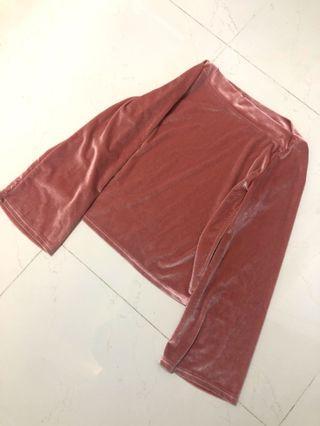 🚚 (BRAND NEW) Pink Velvet Long Sleeve Top