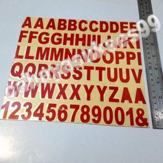 Sticker Cutting Alphabet Abjad MERAH Font ARIAL Huruf A Sampai Z Angka 1 2 3 4 5 6 7 8 9 0 Stiker Body Motor Reflective Size 2.8cm X 1.5cm NEW STOCK
