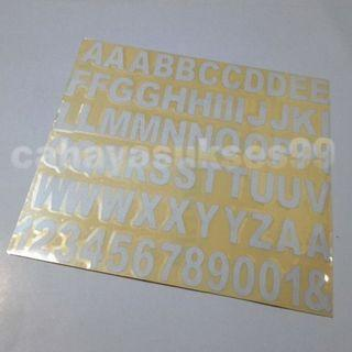 Stiker Abjad Huruf Cutting Sticker Alphabet Abjad PUTIH Font Besar A Sampai Z Plus Angka Stiker Motor Dimensi FONT 2.8cm X 1.5cm Reflective