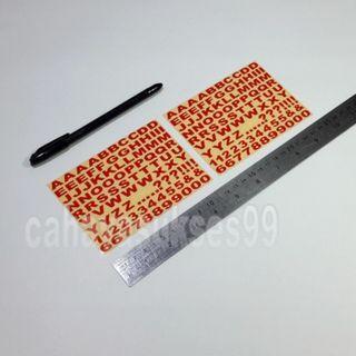 Sticker Cutting Alphabet Abjad Huruf Font ARIAL BOLD Merah Kecil 1.2cm X 0.7cm Dan Angka 1 2 3 4 5 6 7 8 9 0 Stiker Body Motor Paket HEMAT 2 Set NEW