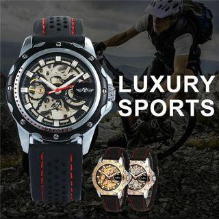 T-Winner Original Mens Casual Automatic Mechanical Watches Silicone Strap Wristwatch #Lalamove