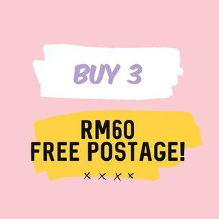 BUY 3 ITEMS ( RM60 inc postage)