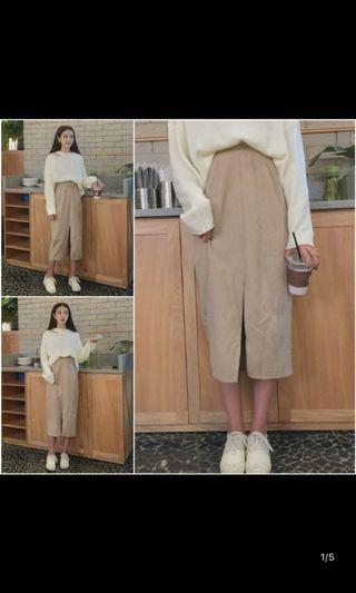 🚚 (BRAND NEW) Korean Beige Ribbed Maxi Skirt