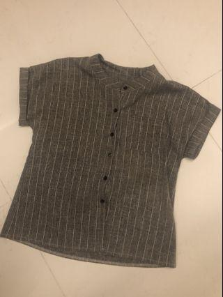 🚚 (BRAND NEW) Grey round collar grid top