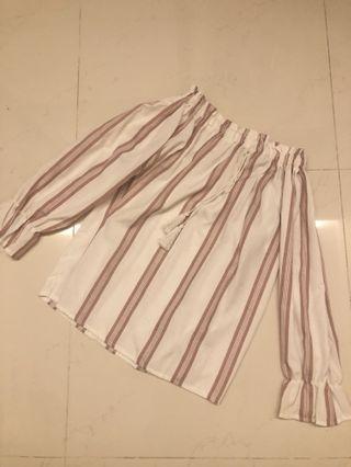 (BRAND NEW) Pink Stripes Off Shoulder Top