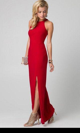 Long red gown formal dress
