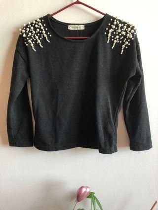 Black Sweater with Pearl Detailing