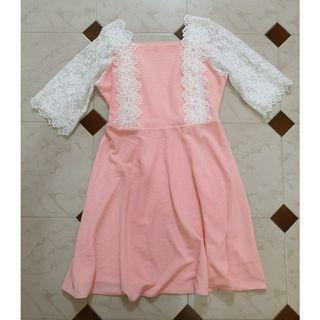 (SALES) Plus Size Candy Pink White Floral Lace Sweetie Korean Premium A-line Skater Prom Dress