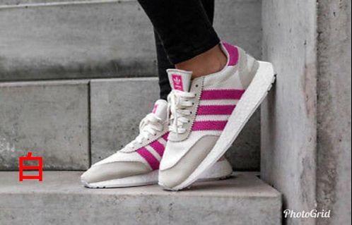 Adidas original 復古女生白底桃紅線條休閒鞋24.5公分
