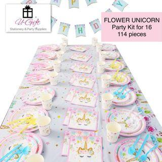 🚚 [PS]Flower Unicorn Theme Party Supplies Kit Set for 16