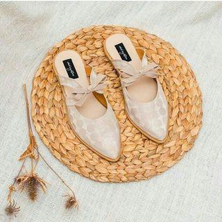 Ribbon flat shoes mules