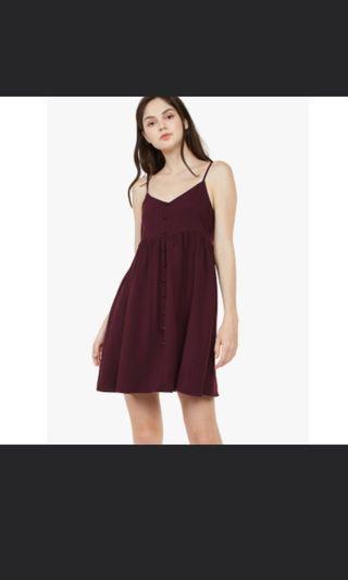 Fayth hot button babydoll dress in burgundy