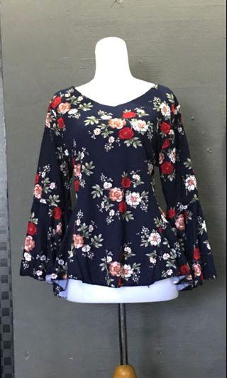 Pretty Navy Blue Floral Bell Sleeve Blouse Top