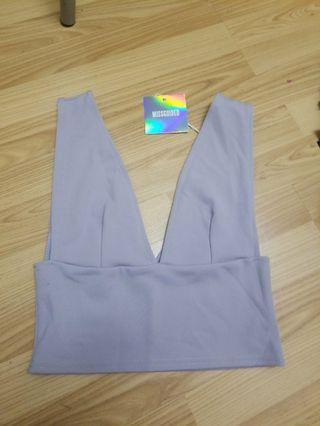 Scuba Crop Top - Grey US Size 4 from Missguided
