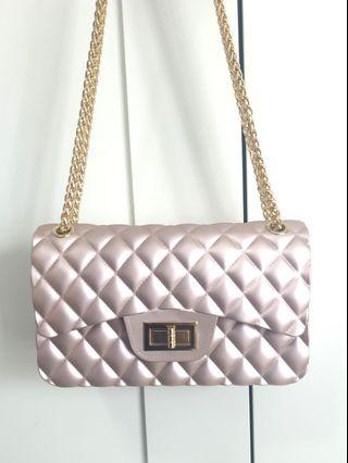 Rose Gold Quilted Jelly Chain Classic Flap Turn Lock Handbag
