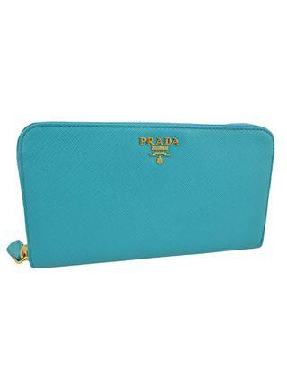 Prada Turquoise Saffiano Metal Leather Women's Zipper Wallet