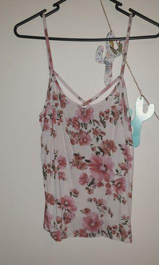 Pink Flower Top with Funky Straps size 8