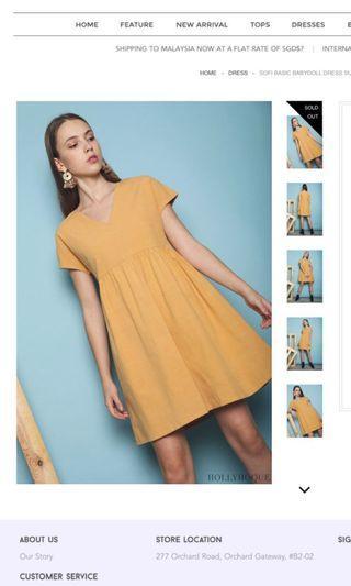 🚚 BN hollyhoque sofi basic babydoll dress in sunshine