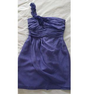 Out with Evie purple silk dress size 10