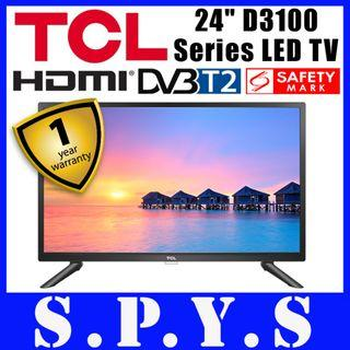 "TCL 24D3100 LED TV. TCL 24"" 24D3100 LED TV. DVB-T2 LED TV. USB and HDMI Inputs. USB Music Playback. Safety Mark Approved. 1 Year Warranty."