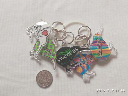 5x New Zealand key rings