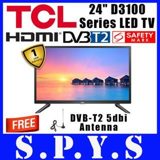 "TCL 24D3100 LED TV. TCL 24"" 24D3100 LED TV. **FREE DVB-T2 5dbi Antenna**. DVB-T2 LED TV. USB and HDMI Inputs. USB Music Playback. Safety Mark Approved. 1 Year Warranty."
