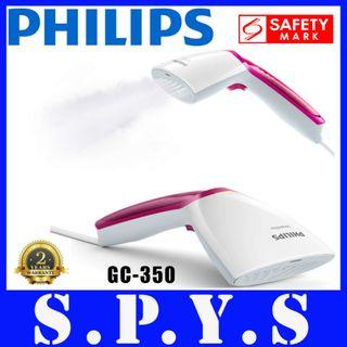 Philips GC350 Garment Steamer. Hand Held Type. Steam and Go. 1000 Watts. Vertical Steaming. 70 ml Detachable Water Tank. Safety Mark Approved. 2 Years Warranty