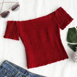 maroon red cropped top