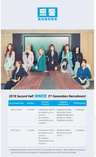 TWICE Entertainment 2019 Second Half ONCE 3rd Generation Recruitment