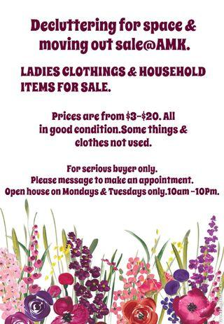 Sale of Ladie's clothes &: House hold items@AMK.BY APPOINTMENT ONLY.